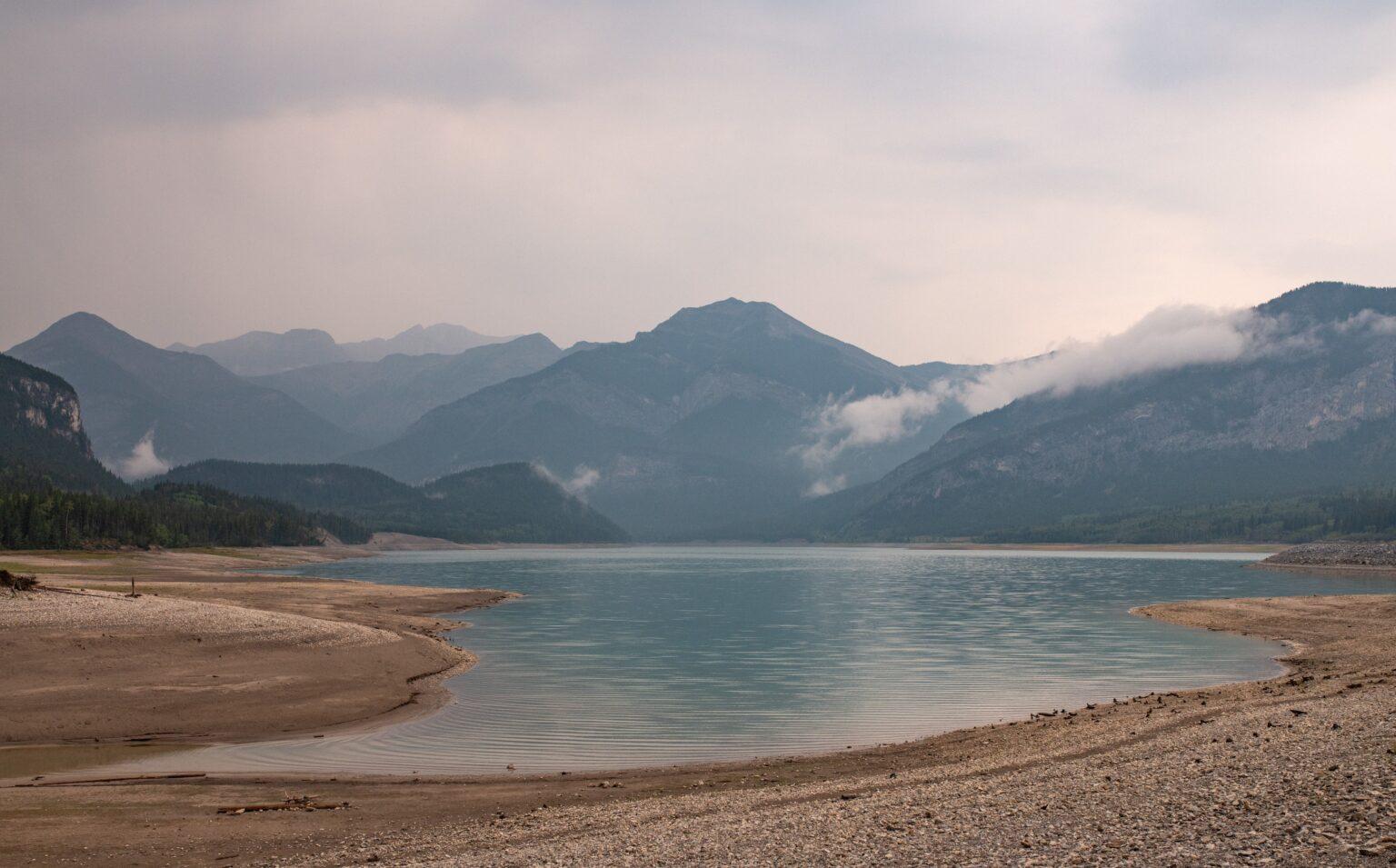 Beautiful calm lake in Barrier Dam, Kananaskis