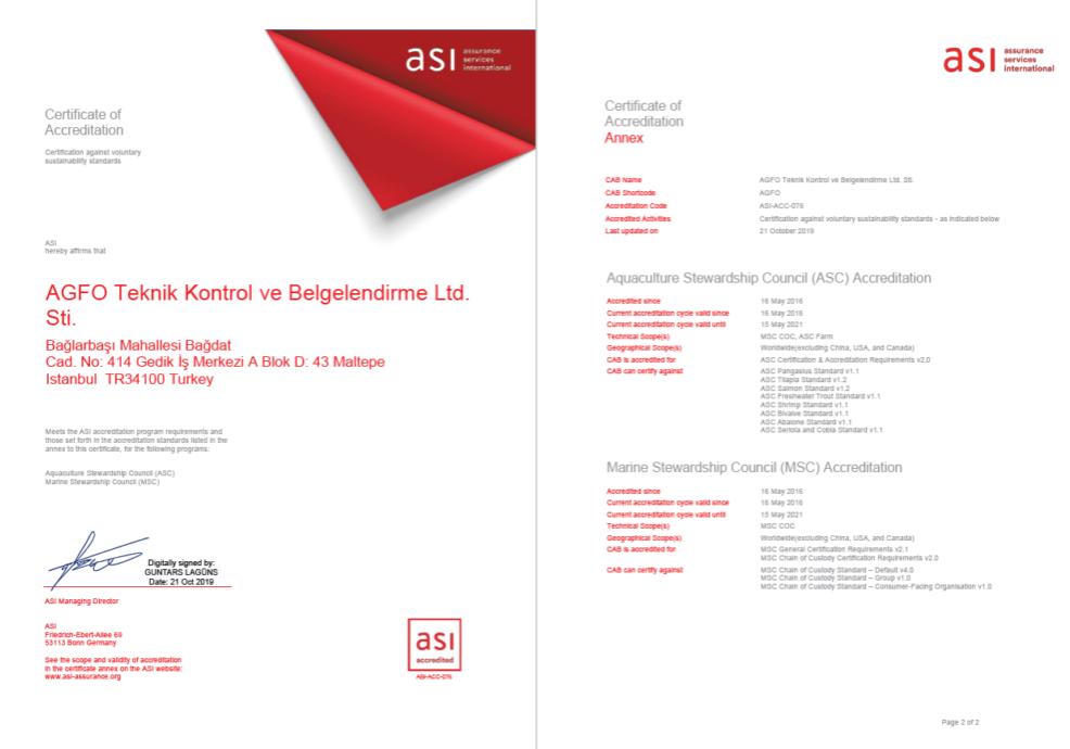 2020 ASI Accreditation Certificate