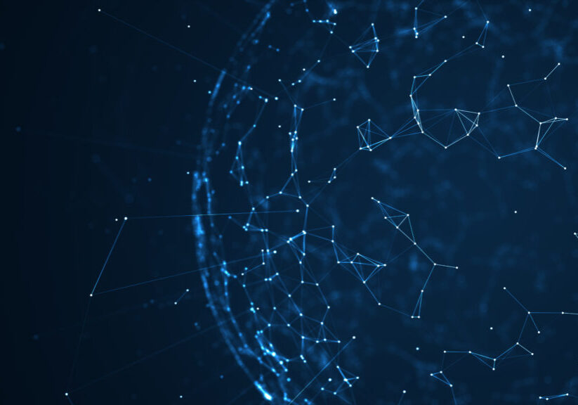Big data network and IOT concept.Machine learning algorithms. Analysis of information. Technology data network connectivity, complexity  with moving lines, dots.Data flood of modern digital age.