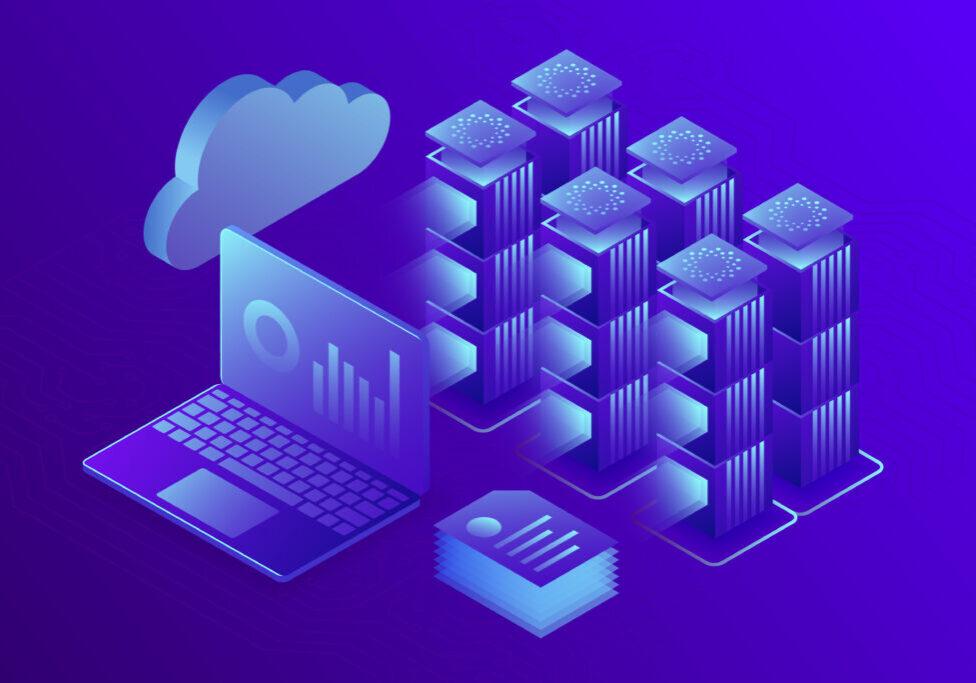 Concept business analytics, data center or hosting server room background. Computer storage workstation. 3d isometric illustration.