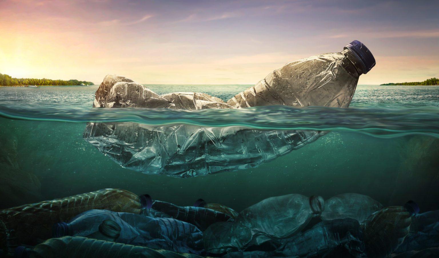 Plastic water bottles pollution in ocean
